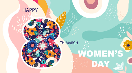 8 march, International Women's Day. Vector design for greeting card Archivio Fotografico - 117175645