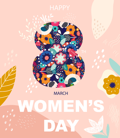 8 march, International Womens Day. Vector design for greeting card