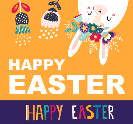Vector illustration with cute bunny and flowers. Easter illustration Standard-Bild - 117175654