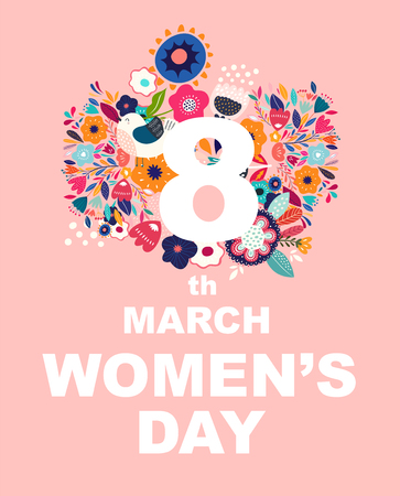 8 march, International Women's Day. Vector design for greeting card