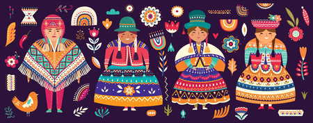 Collection of Chile's symbols. National costumes of Chile, Peru and Bolivia Standard-Bild - 117426563