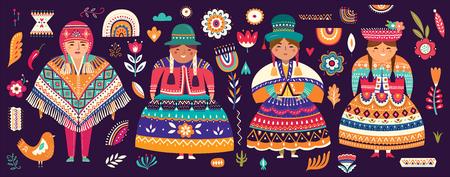 Collection of Chile's symbols. National costumes of Chile, Peru and Bolivia Archivio Fotografico - 117426563
