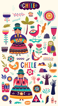 Collection of Chile's symbols. National costumes of Chile, Peru and Bolivia Reklamní fotografie - 117426569