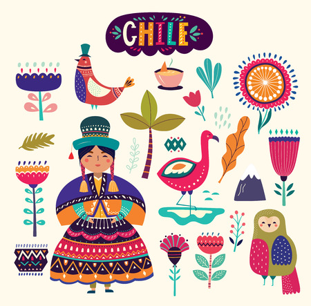 Collection of Chile's symbols. National costumes of Chile, Peru and Bolivia