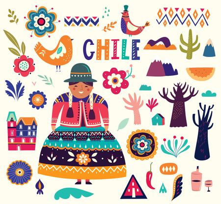 Collection of Chile's symbols. National costumes of Chile, Peru and Bolivia Archivio Fotografico - 117426570