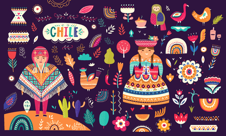 Collection of Chile's symbols. National costumes of Chile, Peru and Bolivia 일러스트
