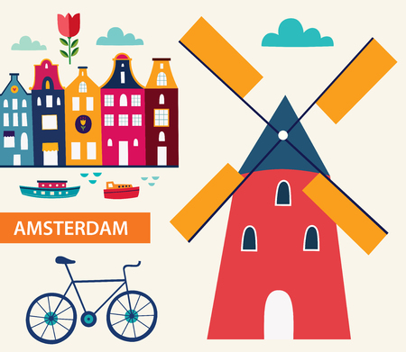 Cartoon style with symbols of Amsterdam Illustration