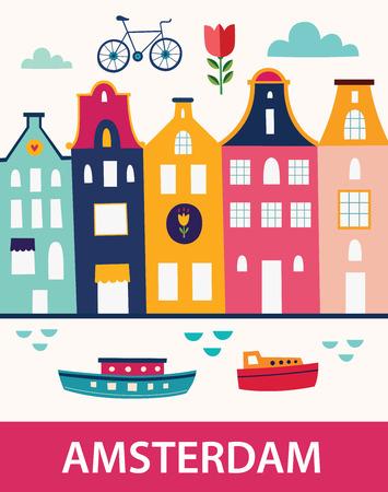 Cartoon-Stil mit Symbolen von Amsterdam