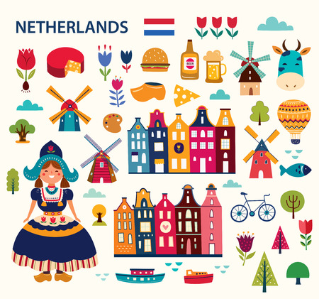 Cartoon style with symbols of the Netherlands Foto de archivo - 119127867
