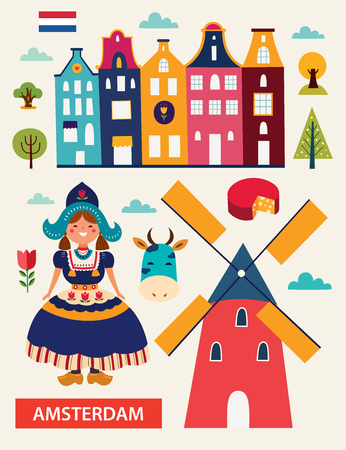 Cartoon style with symbols of the Netherlands Ilustrace