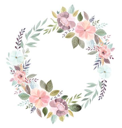 Vintage watercolor hand drawn floral wreath. Wedding wreath