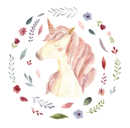 Vintage watercolor  with pastel colors. Watercolor emblem with unicorn Stok Fotoğraf