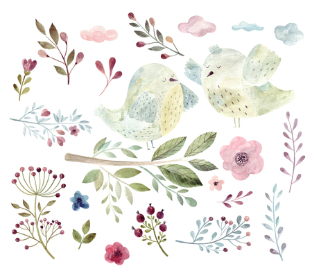 Watercolor big spring collection with birds, branches, flowers and leaves Standard-Bild - 121749399