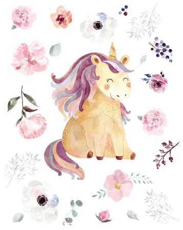Vintage watercolor  with pastel colors. Kids design with magical unicorn Stok Fotoğraf