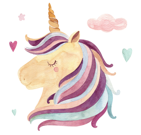 Vintage watercolor  with cute unicorn in pastel colors. Kids design with magical unicorn Archivio Fotografico - 121749405