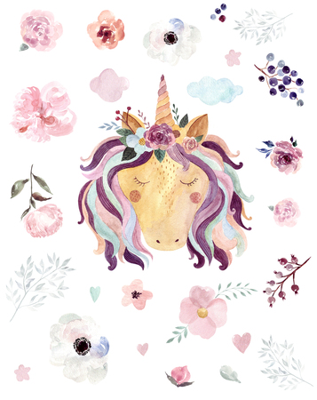 Vintage watercolor  with pastel colors. Kids design with magical unicorn Archivio Fotografico - 121749410