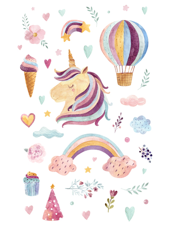 Vintage watercolor  with rainbow colors, ice cream Kids design with magical unicorn