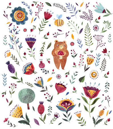 Watercolor  with cute Bear. Watercolor animal. Watercolor artwork. Baby watercolor pattern Archivio Fotografico - 122771183
