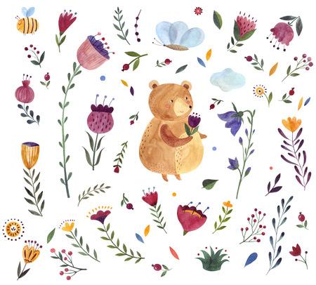 Watercolor  with cute Bear. Watercolor animal. Watercolor artwork