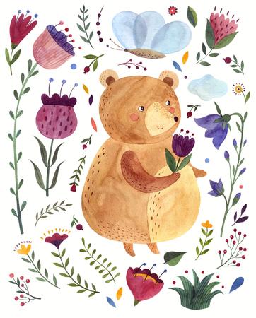 Watercolor  with cute Bear. Watercolor animal. Watercolor artwork Archivio Fotografico - 122771180