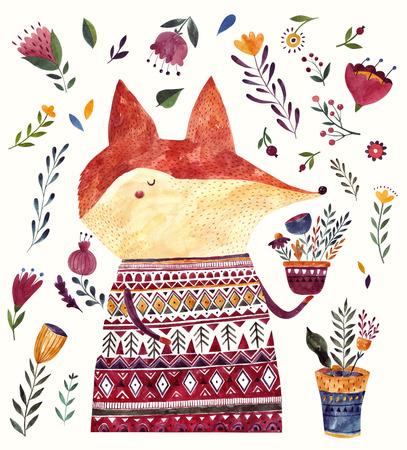 Watercolor  with cute Fox. Watercolor animal. Watercolor artwork Archivio Fotografico - 122771184