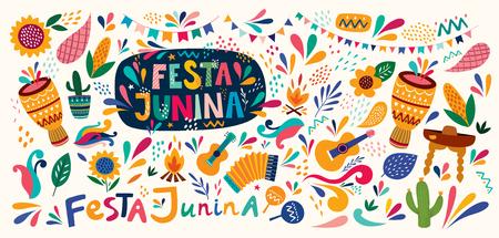 Beautiful Festa Junina holiday design for Brazil. Archivio Fotografico - 123051398