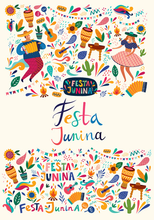 Beautiful Festa Junina holiday design for Brazil. Standard-Bild - 123051402