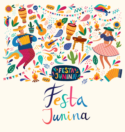Beautiful Festa Junina holiday design for Brazil. Archivio Fotografico - 123051403