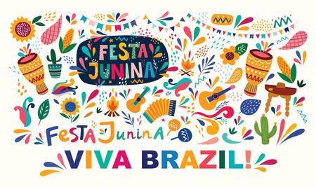 Beautiful Festa Junina holiday design for Brazil. Standard-Bild - 123051408