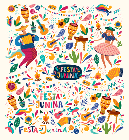 Beautiful Festa Junina holiday design for Brazil. Standard-Bild - 123052658