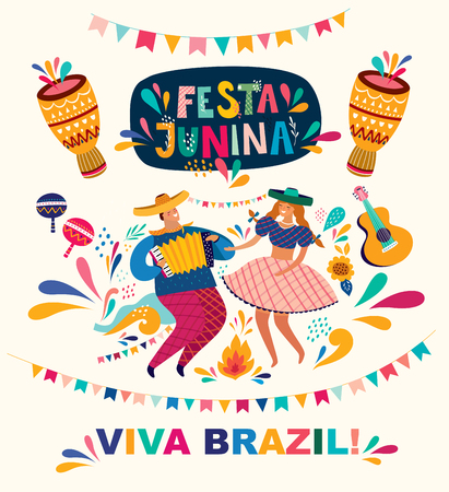 Beautiful Festa Junina holiday design for Brazil. Archivio Fotografico - 123052659