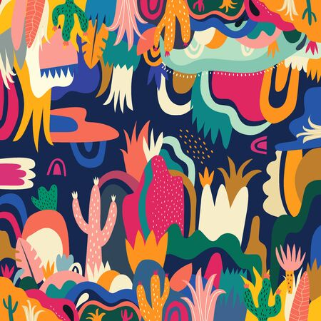 Abstract colorful tropical vector pattern