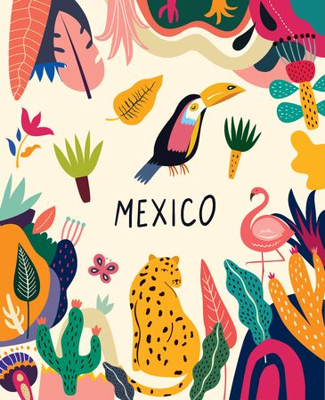 Mexican design. Vector mexican illustration with animals and tropical colorful pattern