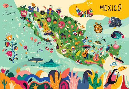 Mapa Meksyku z tradycyjnymi symbolami i elementami dekoracyjnymi.