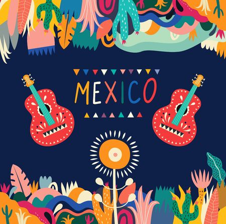 Colorful Mexican design. Stylish artistic Mexican decor for party and holidays  イラスト・ベクター素材