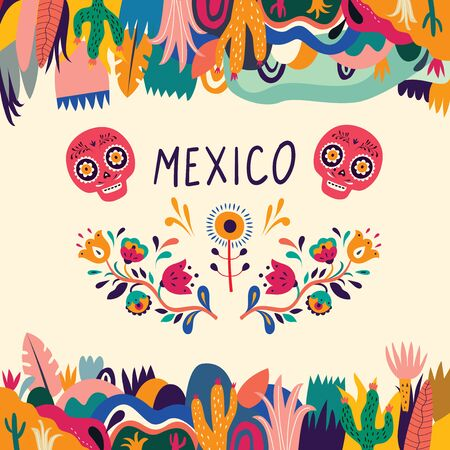 Colorful Mexican design. Stylish artistic Mexican decor for party and holidays 向量圖像