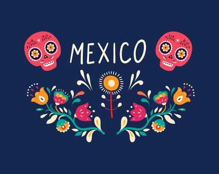 Colorful Mexican design. Stylish artistic Mexican decor  イラスト・ベクター素材