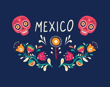 Colorful Mexican design. Stylish artistic Mexican decor Illustration