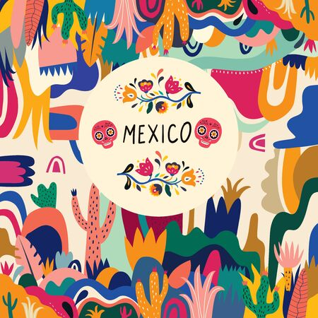 Colorful Mexican design. Stylish artistic Mexican decor for Mexican holidays and party