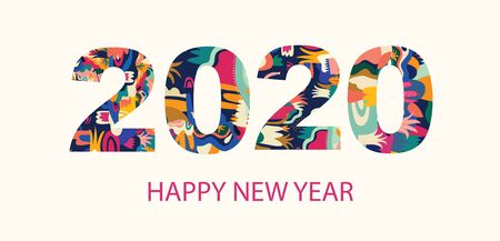 2020 Happy New Year  illustration Ilustrace
