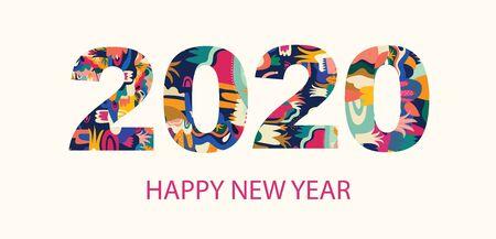 Illustrazione di felice anno nuovo 2020