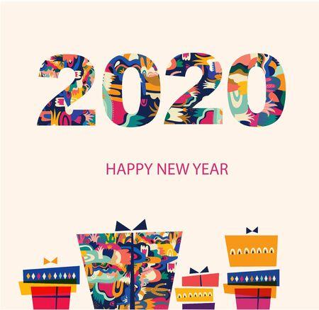 Carte de voeux de vacances pour les vacances du Nouvel An et de Noël Vecteurs