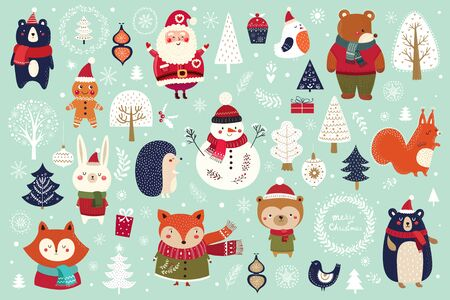 Christmas collection with cute animals Stock Illustratie