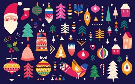 Decorative Christmas collection in Scandinavian folk style with Christmas tree, birds, Santa Claus