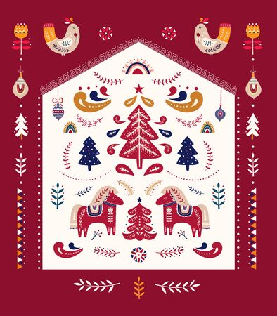 Scandinavian folk christmas illustration