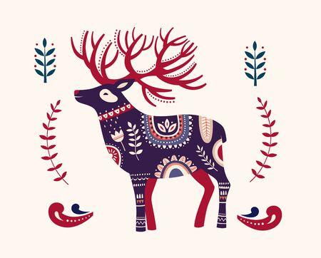 Scandinavian Christmas illustration with Christmas deer
