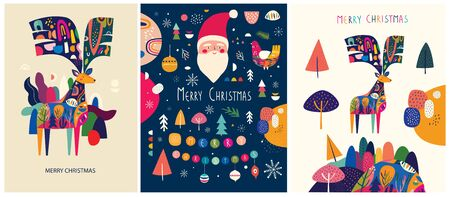 Collection of Christmas illustrations in vintage style Illusztráció