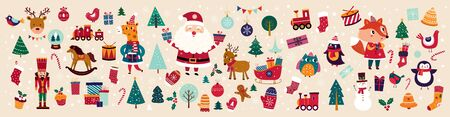 Big Christmas collection in vintage style with traditional Christmas and New Year elements Stock Illustratie
