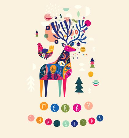 Modern template with Christmas deer in Scandinavian style. Abstract holiday illustration for Christmas and New Year decoration 向量圖像