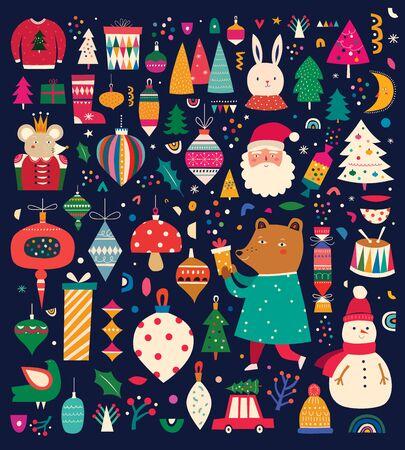 Weihnachtsdekorative riesige Sammlung mit unglaublichen Weihnachtselementen. Weihnachtsbunte Dekokollektion im Vintage-Stil mit süßem Häschen, Königsmaus, Schneemann und lustigem Weihnachtsmann Vektorgrafik